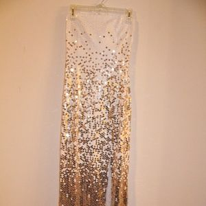 Formal Gown, Strapless, w/ Shiny Gold/White Sequin
